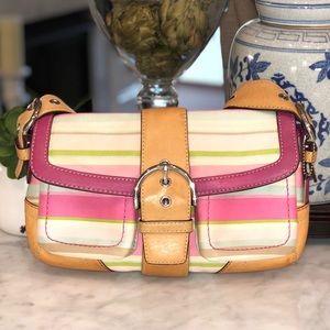 Coach soho twill pastel striped flap shoulder bag
